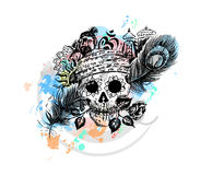 Pirate skull corsair logo - Head of men with rose peacock feather. Temple for black magic design Stock Photos