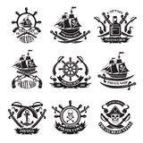 Pirate skull, corsair ships, symbols of piracy. Monochrome labels set. Piracy emblem and sword with happy roger skull. Vector illustration Stock Photos
