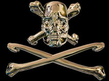 Pirate skull and cross bones. 3D metallic pirate skull and cross bones. Black background Royalty Free Stock Photos