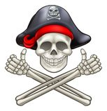Pirate Skull and Cross Bones Cartoon. Pirate Jolly Roger skull and crossbones giving a thumbs up Royalty Free Stock Photography