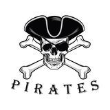 Pirate Skull With Cross Bones Hat And Eyepatch Logo Design Vector Illustration. Template Stock Photography