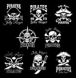 Pirate skull with crossbone, Jolly Roger icon set Stock Photo