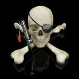 Pirate skull and crossbones. With eye patch and dagger on a reflective black surface Royalty Free Stock Images