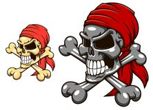 Pirate skull with crossbones. In cartoon style for tattoo or mascot design royalty free illustration