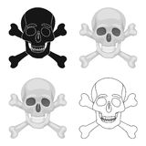 Pirate skull and crossbones icon in cartoon style isolated on white background. Pirates symbol stock vector illustration Stock Images