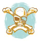 Screen Printed Poster Style Pirate Skull and Crossbones stock illustration