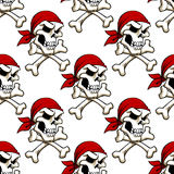 Pirate skull with crossbones seamless pattern Stock Photography