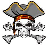 Pirate skull. And crossbones wearing hat Stock Photos