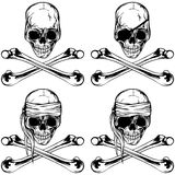 Pirate skull and crossed bonnes set Stock Photos