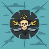 Pirate skull and crossed sabers Stock Images