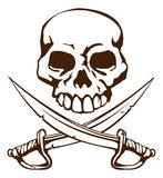 Pirate skull and crossed swords symbol. A pirate skull and crossed swords symbol Royalty Free Stock Image
