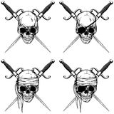 Pirate skull with cutlass set Stock Images