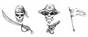 Pirate skull and elements illustration Stock Photo