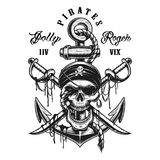 Pirate skull emblem with swords, anchor Stock Image