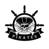 Pirate Skull With Eyepatch And Ship Helm Logo Design Vector Illustration. Pirate Skull With Eyepatch And Ship Helm Design Vector Illustration Template Stock Photos