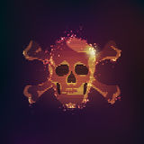 Pirate skull. Flaming skull with modern style, concept of computer virus or Helloween Stock Image