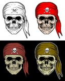 Pirate Skull hand drawing with 4 variation color Royalty Free Stock Photography