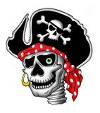 Pirate skull in hat stock illustration