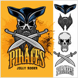Pirate Skull in hat with Cross Swords Royalty Free Stock Photo