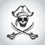Pirate skull with hat and crossed swords Royalty Free Stock Images