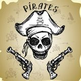 Pirate skull with hat and pistols Stock Photos