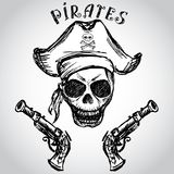 Pirate skull with hat and pistols Royalty Free Stock Image