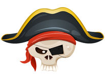 Pirate Skull Head. Illustration of a cartoon pirate skull head character, with bandana and corsair hat Stock Photo