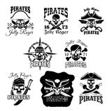 Pirate skull icon and Jolly Roger flag symbol. Pirate skull with crossbones icons. Jolly Roger pirate flag symbol of skeleton wearing hat, eyepatch, bandana and royalty free illustration
