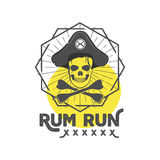 Pirate skull insignia or poster. Retro rum label design with sun bursts, geometric shield and vector text - rum run. Vintage style for tee design, t-shirt, web Royalty Free Stock Images