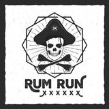 Pirate skull insignia, poster. Rum label design with sun bursts, geometric shield and text - rum run. Vintage style for. Tee design, t-shirt, web projects Royalty Free Stock Photos