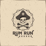 Pirate skull insignia or poster. Rum label design with sun bursts, geometric shield and vector text - rum run. Vintage. Style for tee design, t-shirt, web Stock Photo