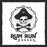 Pirate skull insignia, poster. Rum label design with sun bursts, geometric shield and vector text - rum run. Vintage. Style for tee design, t-shirt, web Stock Image