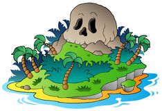 Pirate skull island stock illustration