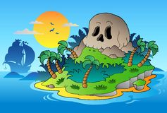 Pirate skull island with ship Royalty Free Stock Images