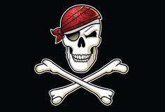 Jolly Roger illustration with Bandana Stock Images