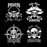 Pirate skull and Jolly Roger flag icon set design Royalty Free Stock Photos