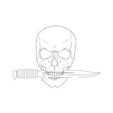 Pirate skull with a knife Stock Photography