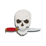 Pirate skull with a knife Royalty Free Stock Images