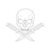Pirate skull with a knives Stock Photo