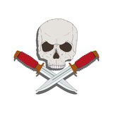 Pirate skull with a knives Royalty Free Stock Photography