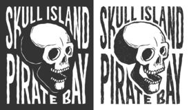 Pirate skull with lettering tattoo print in retro style. Grunge distressed texture on a separate layer royalty free illustration