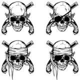 Pirate skull pistols set Stock Photography