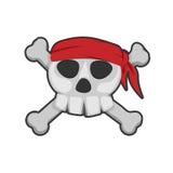 Pirate skull, red bandana and bones Royalty Free Stock Photo