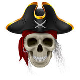 Pirate skull. In red bandana and cocked hat with hair tuft Stock Photo