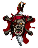 Pirate Skull in Red Headband with Cross Swords Stock Photography