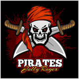 Pirate Skull in Red Headband with Cross Swords Stock Photos