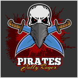 Pirate Skull in Red Headband with Cross Swords Royalty Free Stock Photography