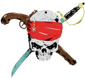 Pirate skull with scarf sword and gun. Pirate skull with red scarf, gun and sword vector illustration
