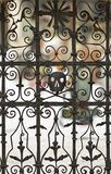 Pirate Skull rusty cemetery gate, symbol. Stock Image