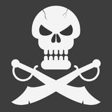 Pirate skull with sabers on black background. Vector illustration Royalty Free Stock Image